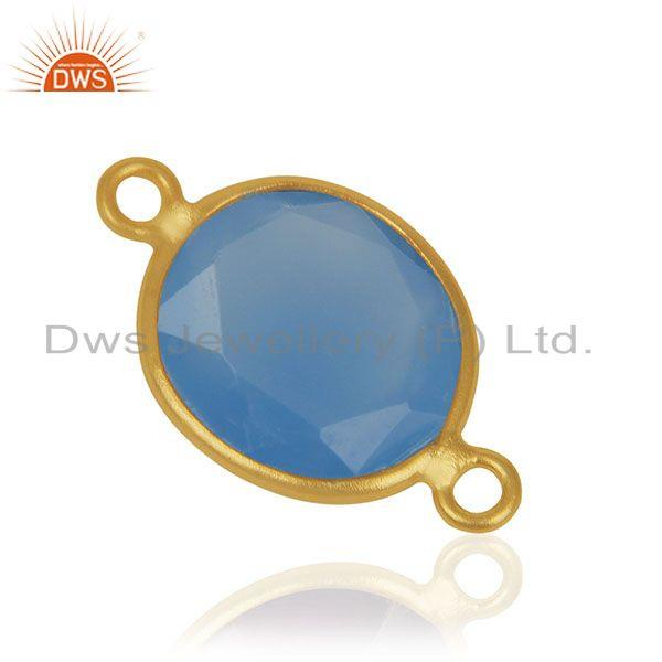 Exporter Blue Chalcedony Gemstone 925 Sterling Silver Gold Plated Connectors Manufacturer