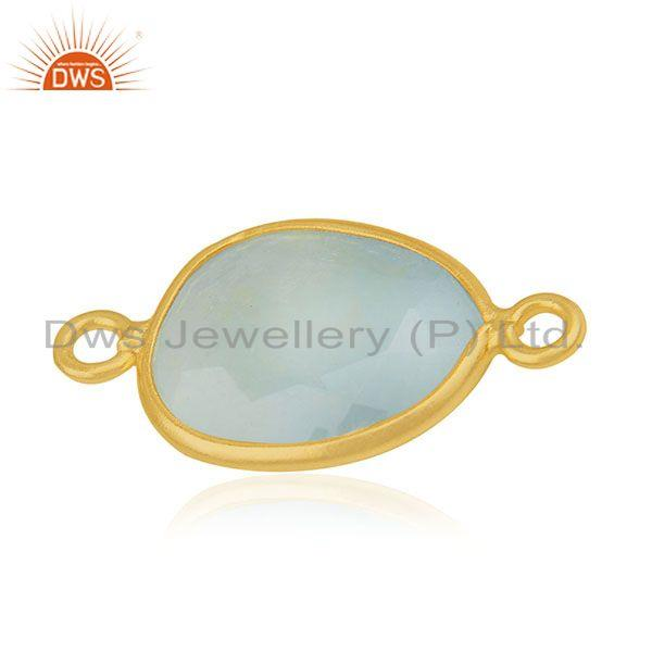 Exporter Larimar Gemstone 925 Silver Gold Plated Jewelry Connectors Wholesale Suppliers