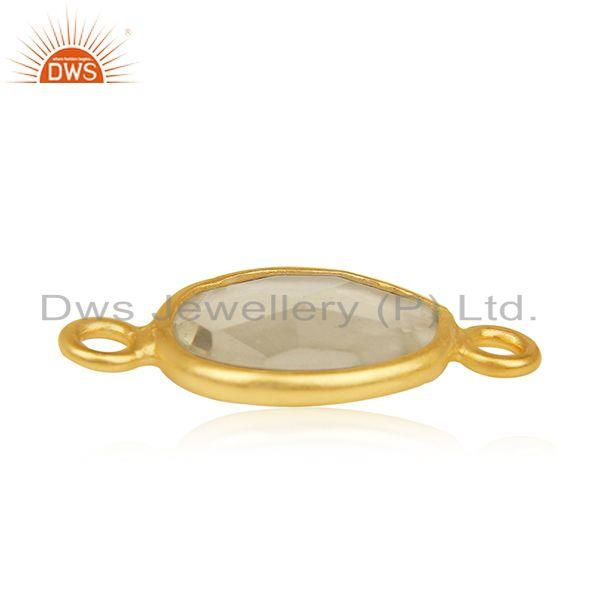 Exporter Lemon Topaz Gemstone 925 Silver Gold Plated Jewelry Connectors Wholesale