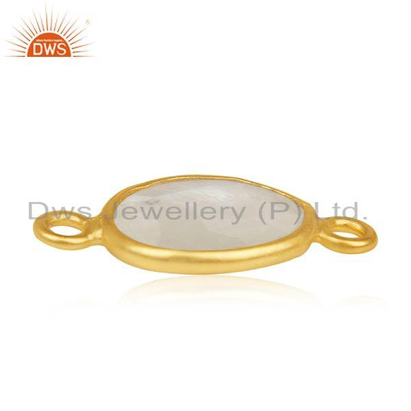 Exporter Rainbow Moonstone 925 Silver Gold Plated Jewelry Connectors Wholesale India