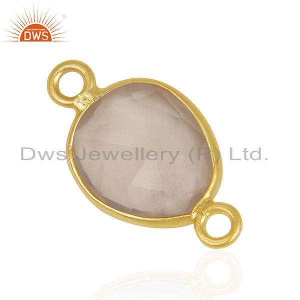 Exporter Rose Quartz Gemstone Gold Plated 925 Silver Jewelry Connector Manufacturer India