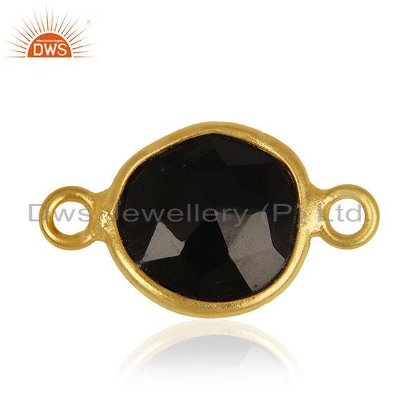 Exporter Black Onyx Gemstone 925 Silver Gold Plated Connectors Wholesale Supplier India