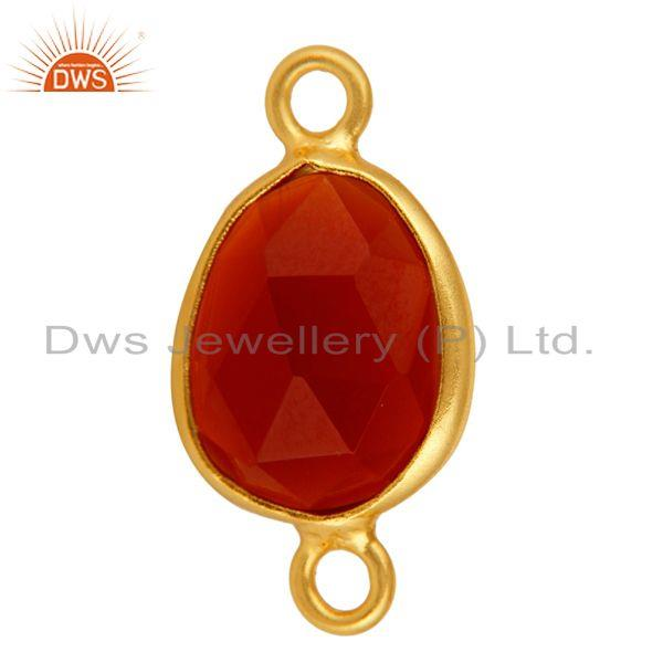 Exporter Gold Plated Sterling Silver Bezel-Set Red Onyx Gemstone Double Link Connector