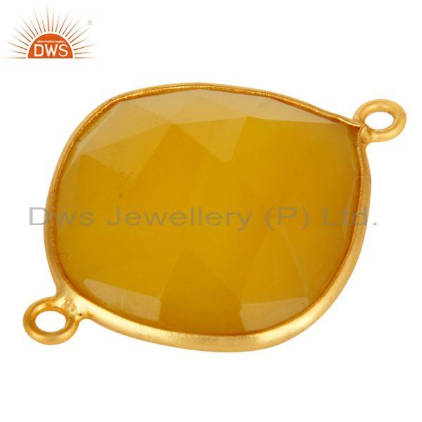 Exporter Yellow Chalcedony Gemstone Sterling Silver Connector With Yellow Gold Plated