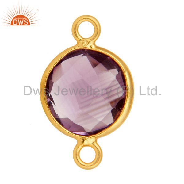 Exporter Round Cut Amethyst Gemstone Sterling Silver With Gold Plated Connector Jewelry