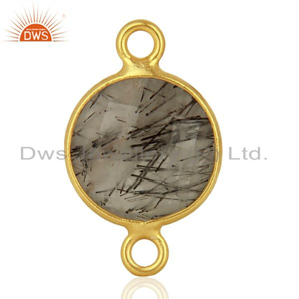 Exporter Black Rutile Gemstone Gold Plated Connector Jewelry Manufacturer
