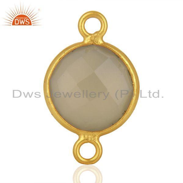 Exporter Gray Chalcedony Gemstone Gold Plated Silver Connector Jewelry