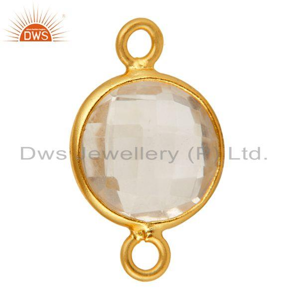 Exporter Round Crystal Quartz Gold Plated Sterling Silver Bezel Double Link Connector