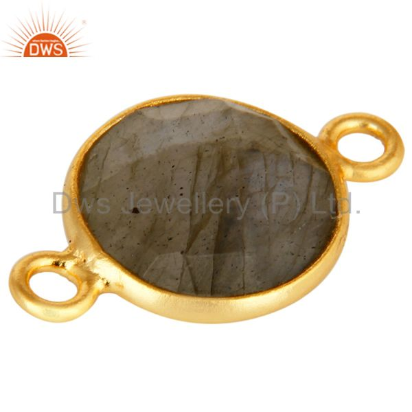 Exporter Natural Labradorite Gemstone Round Cut Gold Plated Sterling Silver Connector