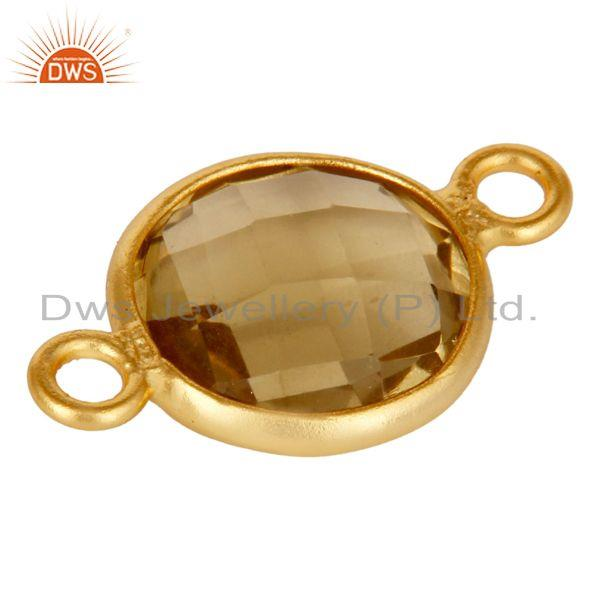 Exporter 10mm Round Lemon Topaz Gemstone 18K Gold Plated Sterling Silver Connector