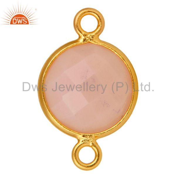 Exporter 10mm Round Rose Chalcedony Gemstone 18K Gold Plated Sterling Silver Connector