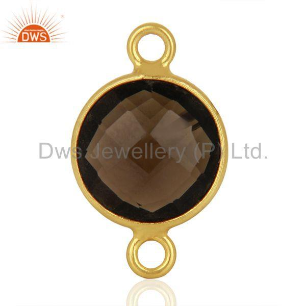 Exporter Smoky Quartz Gemstone Gold Plated Silver Connector Jewelry Supplier