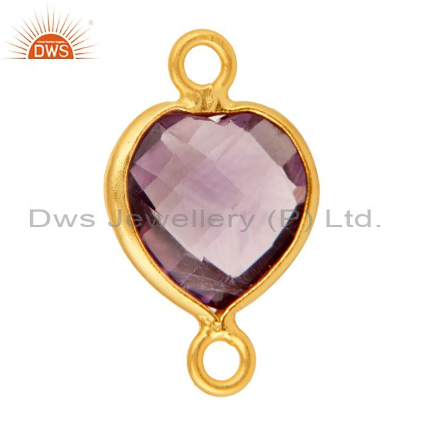 Exporter 18K Gold Plated Sterling Silver Amethyst Heart Shape Gemstone Connector