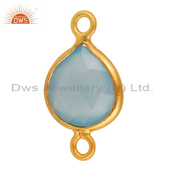 Exporter Faceted Blue Aqua Chalcedony Gemstone Sterling Silver Connector - Gold Plated
