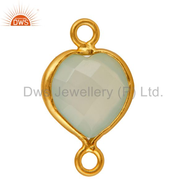 Exporter 18K Gold Plated Sterling Silver Green Chalcedony Heart Shape Gemstone Connector