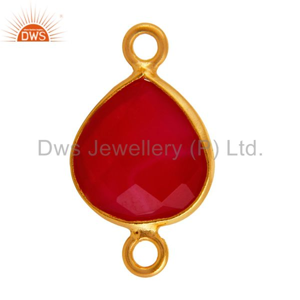 Exporter Gold Plated Sterling Silver Bezeled Pink Chalcedony Gemstone Heart Connector