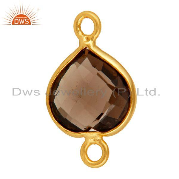 Exporter 18K Gold Plated Sterling Silver Smoky Quartz Heart Shaped Gemstone Connector