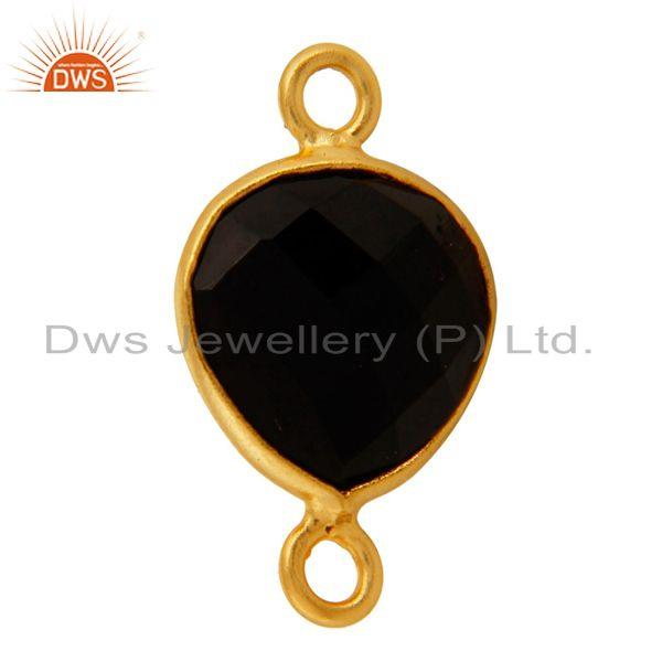 Exporter 18K Gold Plated Sterling Silver Bezeled Black Onyx Gemstone Heart Connector