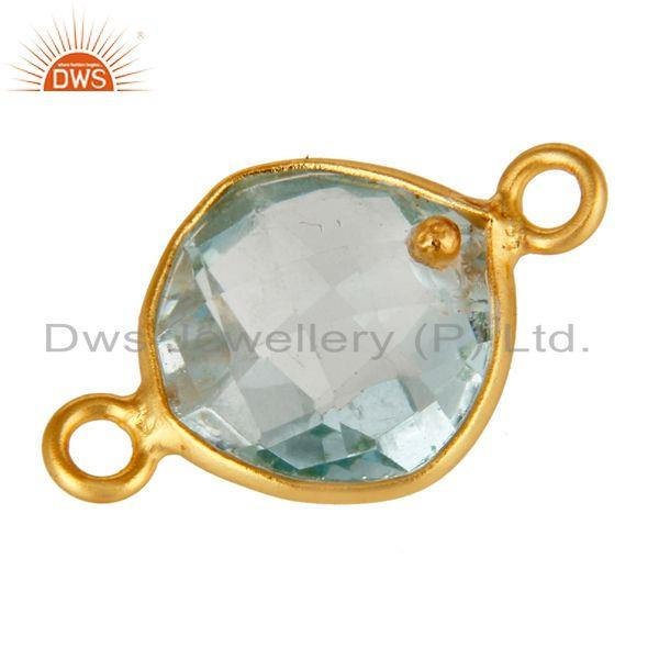 Exporter Natural Blue Topaz 18K Gold Plated Sterling Silver Bezel Set Connector Jewelry
