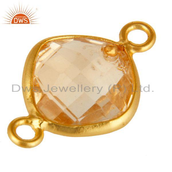 Exporter Natural Citrine Gemstone 18K Gold Plated Sterling Silver Bezel Set Connector
