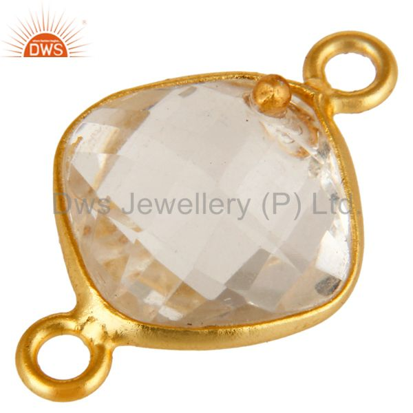 Exporter 10mm Cushion Cut Crystal Quartz Sterling Silver Connector With 18K Gold Plated