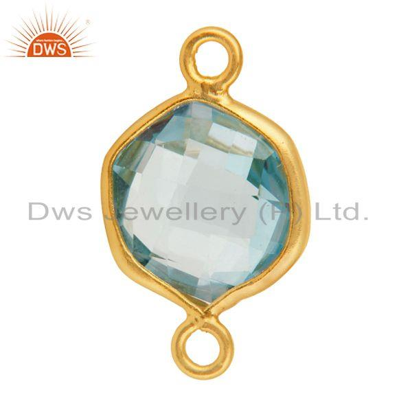 Exporter 18K Gold Over Sterling Silver Blue Topaz Hexagon Shape Gemstone Connector