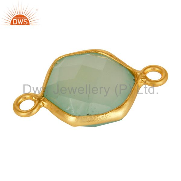 Exporter Dyed Green Chalcedony Gemstone Gold Plated Sterling Silver Bezel Set Connector