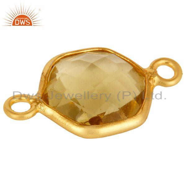 Exporter Lemon Topaz Gemstone 18K Gold Plated Sterling Silver Connector Jewelry