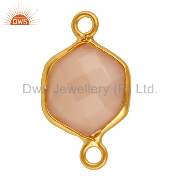 Exporter Faceted Rose Chalcedony Gemstone Hexagon Shape Silver Connector - Gold Plated