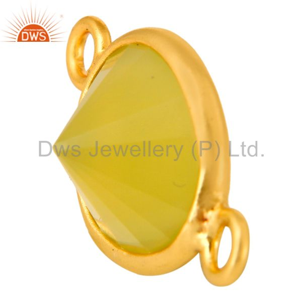 Exporter 14K Gold Plated Sterling Silver Yellow Chalcedony Bezel Setting Stone Connector