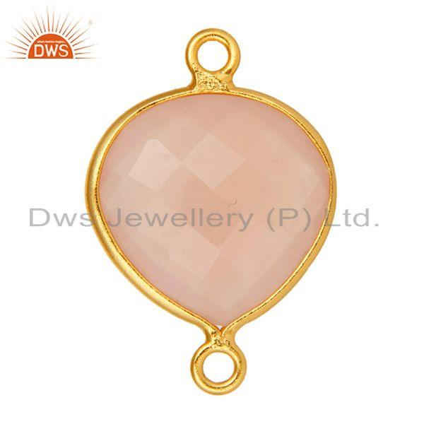 Exporter Sterling Silver Rose Chalcedony Faceted Bezel Gemstone Component Connector