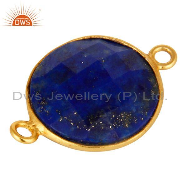 Exporter 18K Yellow Gold Sterling Silver Faceted Lapis Lazuli Gemstone Bezel Connector
