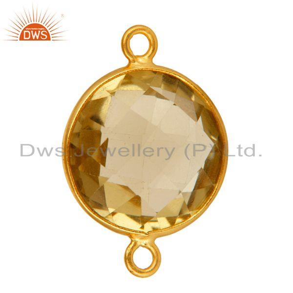 Exporter 15mm Round Lemon Topaz Gold Plated Solid Silver Bezel-Set Double Link Connector