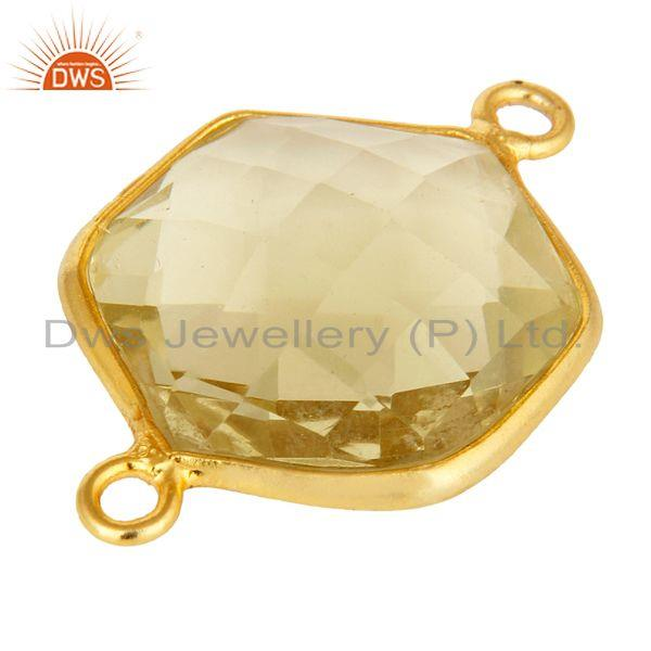 Exporter 18K Yellow Gold Plated Sterling Silver Lemon Topaz Connector Jewelry