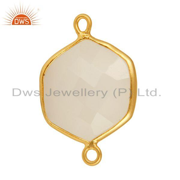 Exporter Gold Plated Sterling Silver Faceted White Chalcedony Gemstone Connector