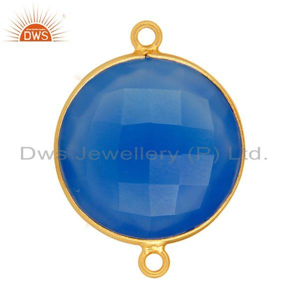 Exporter Dyed Blue Chalcedony Gold Plated Sterling Silver Bezel Set Connector