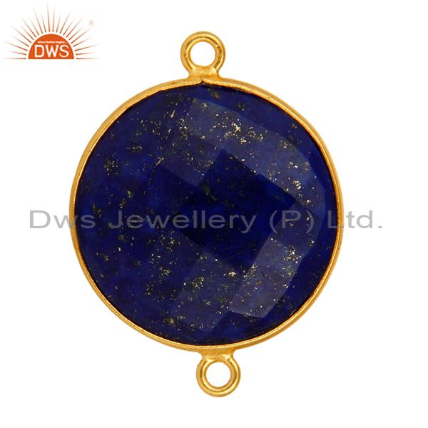Exporter 925 Sterling Silver Natural Lapis Lazuli Gemstone Connector With Gold Plated