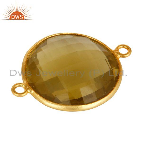 Exporter 925 Sterling Silver Natural Lemon Topaz Gemstone Connector With Gold Plated
