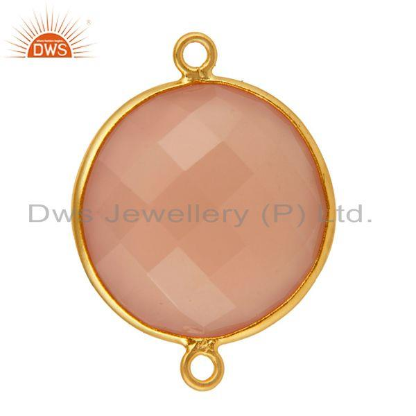 Exporter Faceted Rose Chalcedony Gemstone Sterling Silver Bezel Connector - Gold Plated