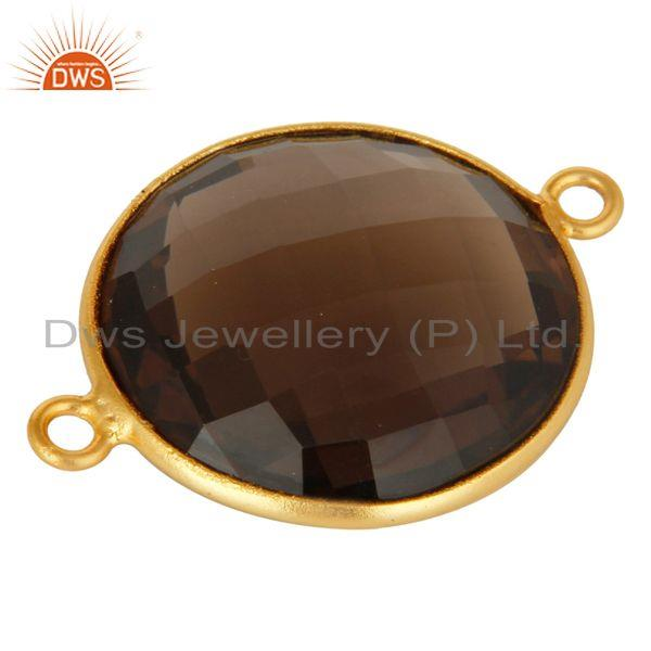 Exporter Natural Smoky Quartz Gemstone Sterling Silver Connector With Gold Plated