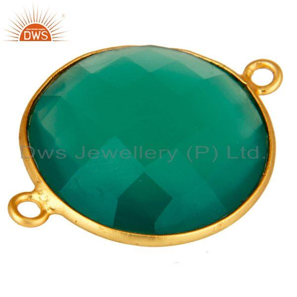 Exporter 18K Gold Plated Sterling Silver 20mm Round Green Onyx Gemstone Bezel Connector