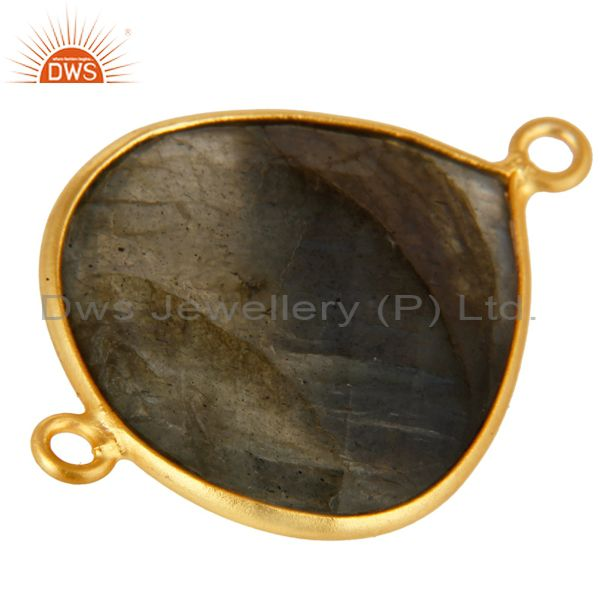 Exporter 18K Yellow Gold Plated Sterling Silver Bezel-Set Labradorite Connector Jewelry