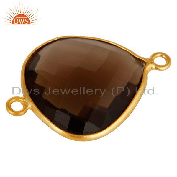 Exporter 18K Yellow Gold Plated Sterling Silver Smoky Quartz Gemstone Connector