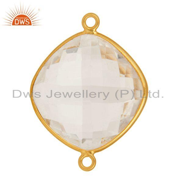 Exporter Natural Crystal Quartz Sterling Silver Gemstone Connector With Gold Plated