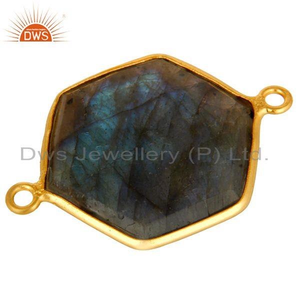 Exporter 18K Yellow Gold Plated Sterling Silver Labradorite Bezel Setting Connector