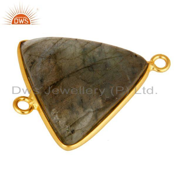 Exporter Natural Labradorite Gemstone Sterling Silver Connector With Yellow Gold Plated