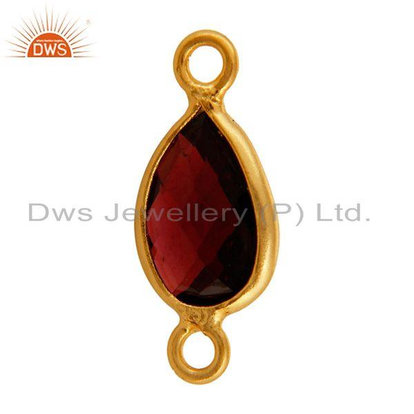Exporter 18K Gold Plated Sterling Silver Garnet Bezel-Set Gemstone Double Link Connector