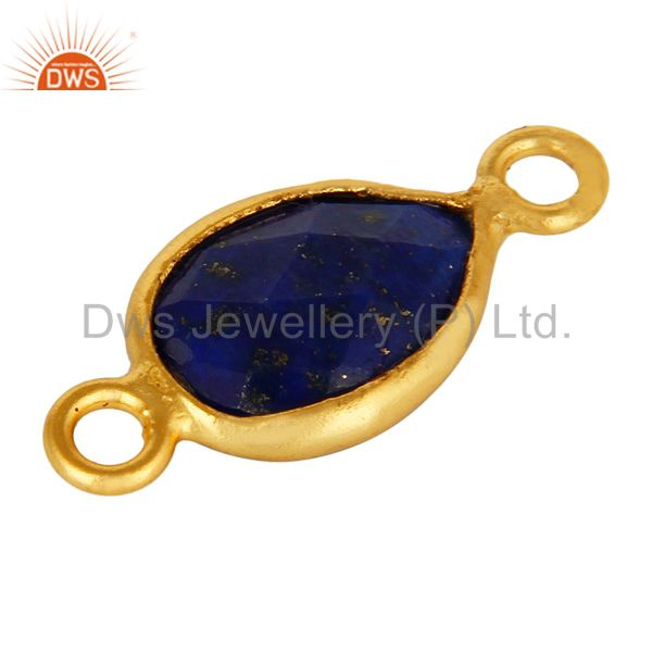 Exporter Lapis Lazuli Gemstone Bezel Set Gemstone Connector Made In 18K Gold Over Silver