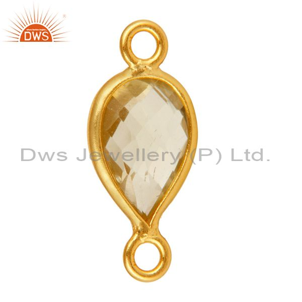 Exporter 18K Gold Plated Sterling Silver Lemon Topaz Pear Gemstone Connector Jewelry