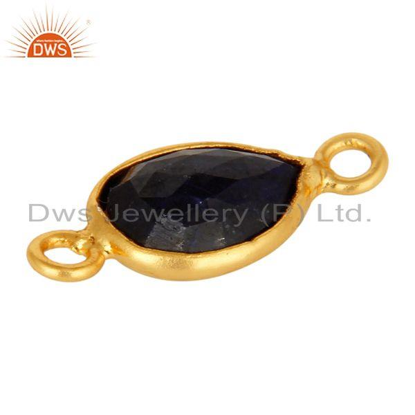 Exporter Faceted Sapphire Blue Corundum Sterling Silver Connector With 18K Gold Plated